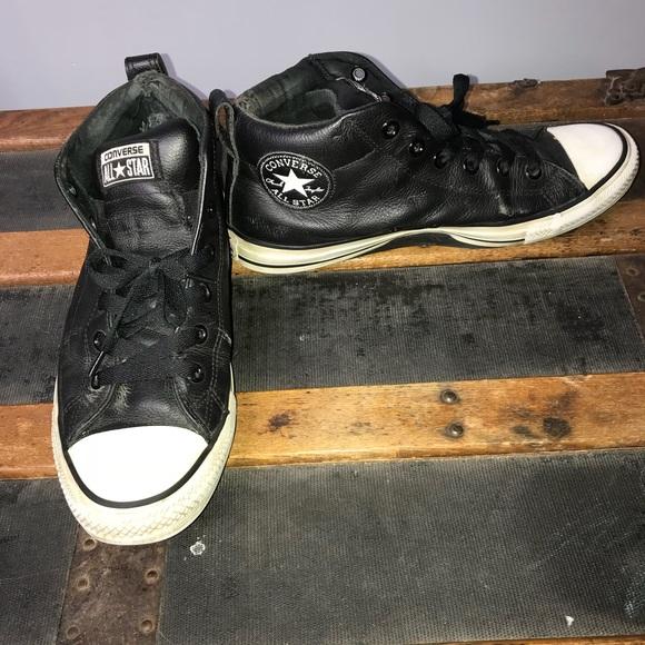 Mens Allstar Converse Black Leather Hi